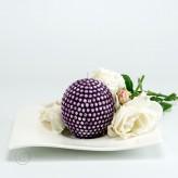 Kugelkerze Perlen 7x6,60cm weinrot-lila/weiß