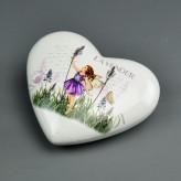 Porzellan Herz Fruehlingselfen 10cm - Lavendel