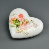 Porzellan Herz Fruehlingselfen 10cm - Rose