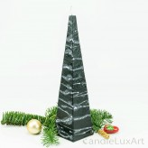 Pyramidenlkerze Tropfendesign - 25cm - schwarz weis