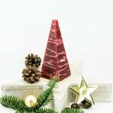Pyramidenlkerze Tropfendesign - 15cm - bordo weis