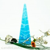 Pyramidenlkerze Tropfendesign - 25cm - Himmelblau weis