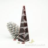 Pyramidenlkerze Tropfendesign - 25cm - weinrot weis