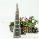 Pyramidenlkerze Tropfendesign - 25cm - grau weis