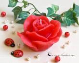 Rosenkerze Rosenblüte - rot