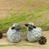 Porzellan Schaf Paar weiß schwarz glasiert 11cm