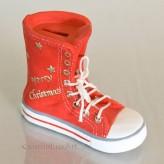 Spardose Stiefel Keramik - rot