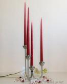 4er Tafelkerzen Spitzkerzen Set 32cm Rubinrot matt getaucht