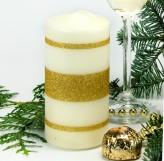 Stumpen Kerze creme - 3 Goldstreifen - 12cm