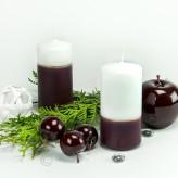 2 Varianten Stumpen Kerze Bordo-Weiß - 12cm mit Goldstreifen