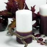 Stumpen Kerze Bordo-Weiß große Fläche - 12cm mit Goldstreifen