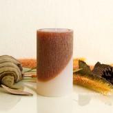 Stumpenkerze zweifarbig 12cm braun elfenbein gekratzt