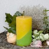 Stumpenkerze zweifarbig 12cm Gelb Grün gekratzt