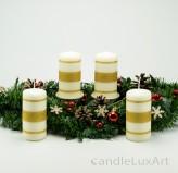 4 Stumpen Kerzen creme 3 Goldstreifen 12cm