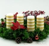 4 Stumpen Kerzen creme 4 Goldstreifen 12cm