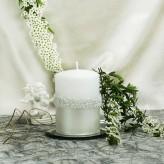 Stumpen Kerzen Rosenkranz Perlmutt weiß 7x10cm