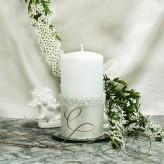 Stumpen Kerzen Rosenkranz Perlmutt weiß 7x14cm