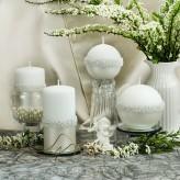 Stumpen Kugel Kerzen Rosenkranz Perlmutt weiß