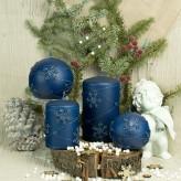 Stumpen Kugel Kerzen Matt 3D Schneeflocken blau