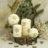 Stumpen Kugel Kerzen Matt 3D Schneeflocken creme