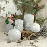 Stumpen Kugel Kerzen Matt 3D Schneeflocken grau