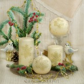 Stumpen Kugel Kerzen Eiseffekt Schneeflocken creme