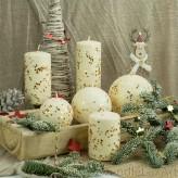 Stumpen Kugel Kerzen Schneeoptik Glitzer Sterne creme