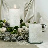 Duftkerze Rose 8x10 und 8x14cm Weiß mit Rosenduft