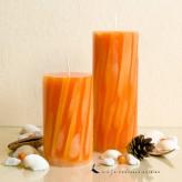 Stumpenkerze - Wellen - 12cm - orange