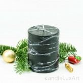 Stumpenlkerze Tropfendesign - 10cm - schwarz weis