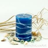 Stumpenlkerze Tropfendesign - 10cm - blau weis