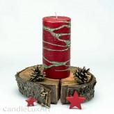 Stumpenlkerze Advent Tropfendesign - 15cm - rot gruen