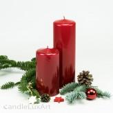 Stumpenkerze Hochglanz lackiert rot - 12cm und 18cm
