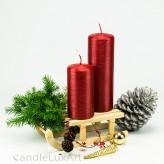 Stumpenkerze Adventskerze rot patiniert perlmut 12 - 18cm