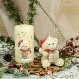 Stumpen und Figur Kerzen Teddy 3D Applikation creme