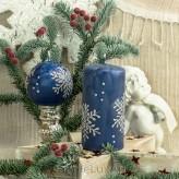 Stumpen Kugel Kerzen Eiseffekt Schneeflocken blau