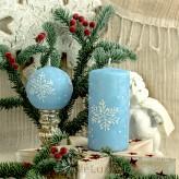 Stumpen Kugel Kerzen Eiseffekt Schneeflocken hellblau