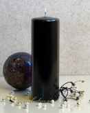 Stumpenkerze Hochglanz lackiert schwarz - 18cm