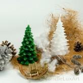 Weihnachtskerze Tanne grün und weiß 13cm