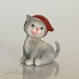 Polyresin Figuren Katze grau mit Mütze - 6cm