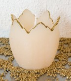 Blumenkerze Tulpe Goldrand - creme