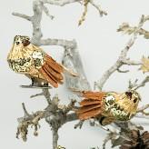 1 Paar Paillettenvogel Gold mit Metallclips 7cm