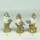 Vögel Weihnachtsfiguren 3 Varianten gold weis silber 11cm