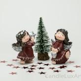 Engelpaar Winter Weihnachten bordo Silber