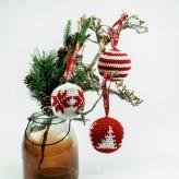 3 Weihnachtskugeln 8cm Strickware Handmade Amigurumi