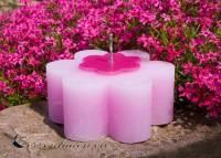 Outdoorkerze Gartenkerze Gartendekoration Blume 7,5x15cm violet / pink