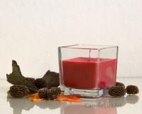 Kerze im Würfel-Glas - Rot